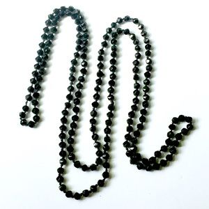 Antique French JET Glass Beaded Necklace